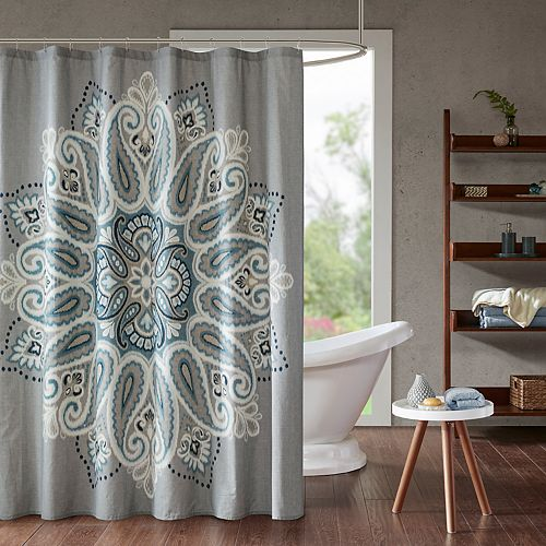 INK IVY Sky Printed Shower Curtain