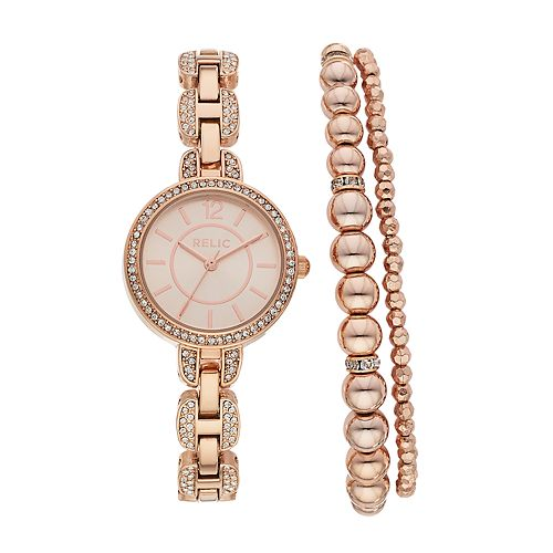 Relic Women's Susan Crystal Watch & Beaded Stretch Bracelet Set - ZR34503SET