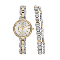 Relic Women's Susan Crystal Two Tone Watch & Bracelet Set - ZR34504SET