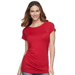 Maternity a:glow Ruched Snap-Shoulder Nursing Tee
