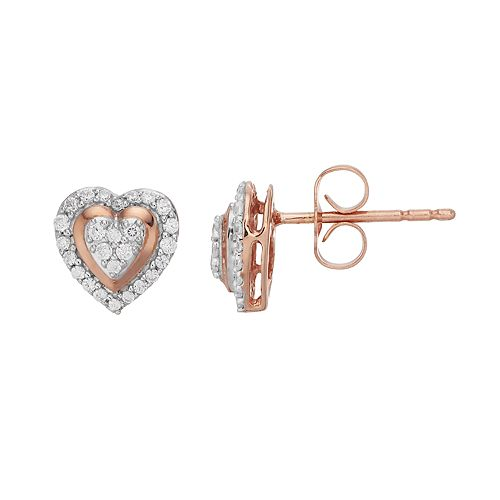 10k Rose Gold 1/5 Carat T.W. Diamond Heart Stud Earrings
