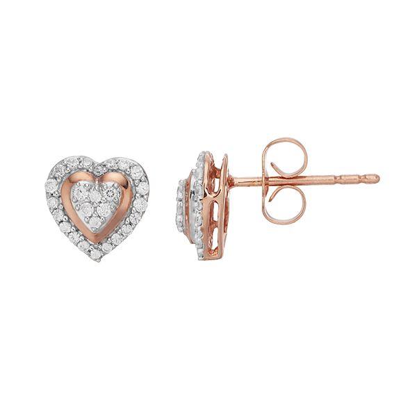 10k Rose Gold 1 5 Carat T W Diamond Heart Stud Earrings