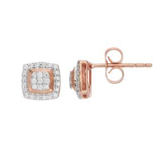 10k Rose Gold 1/5 Carat T.W. Diamond Square Cluster Earrings