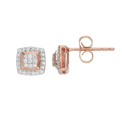 10k Rose Gold 1/5 Carat T.W. Diamond Square Cluster Earrings