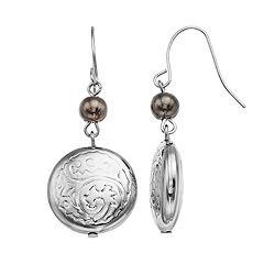 Silver Tone Textured Bead Drop Earrings