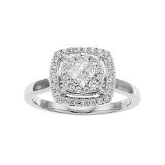 10k White Gold 1/2 Carat T.W. Diamond Square Halo Ring