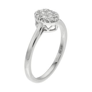 10k White Gold 1/4 Carat T.W. Diamond Oval Cluster Ring