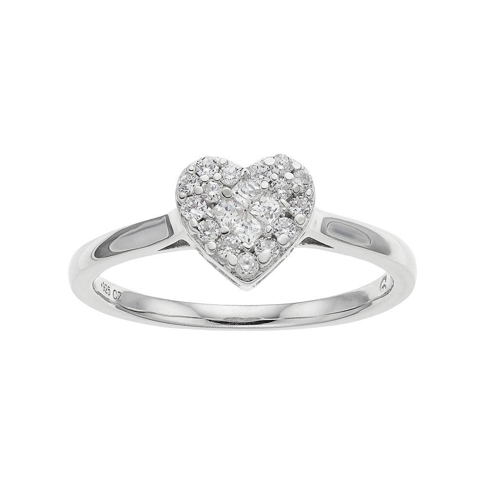 10k White Gold 1/4 Carat T.W. Diamond Heart Cluster Ring