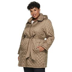 Plus Size TOWER by London Fog Hooded Quilted Belted Jacket