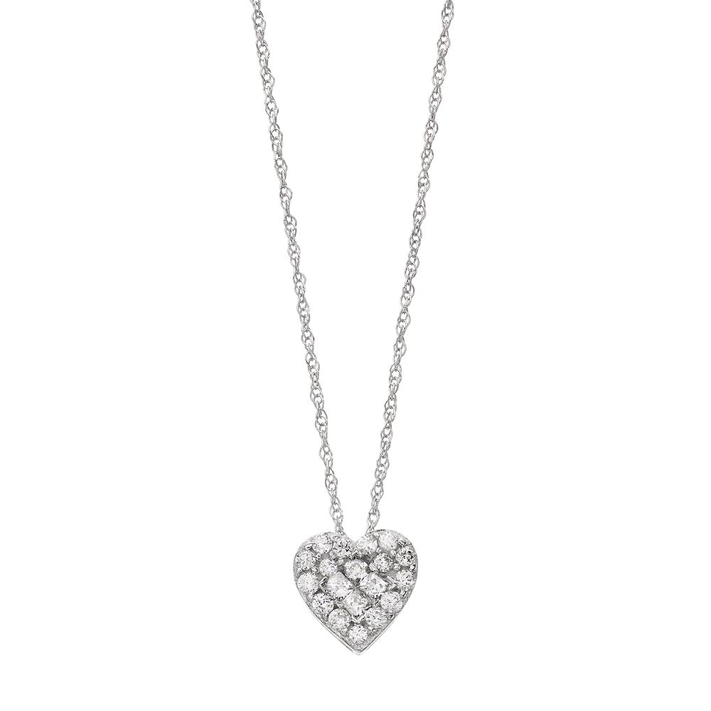 10k White Gold 1/4 Carat T.W. Diamond Heart Pendant Necklace