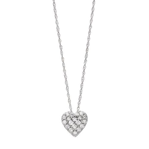 10k White Gold 1/4 Carat T.W. Diamond Heart Pendant Necklace