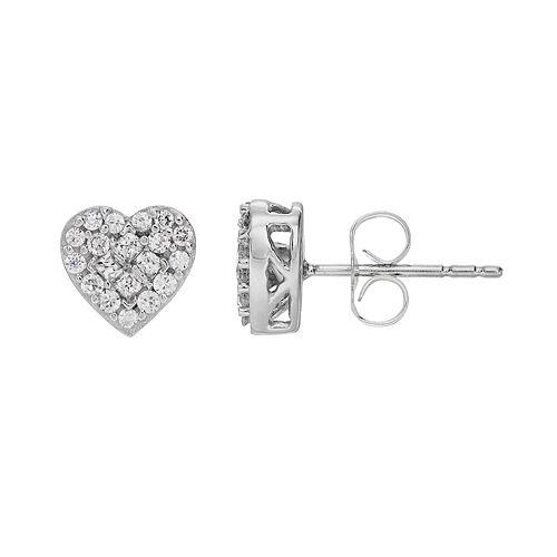 10k White Gold 3/8 Carat T.W. Diamond Cluster Heart Stud Earrings