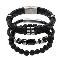 1913 Men's 3-pc. Stainless Steel & Black Leather Bracelet Set