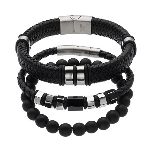 1913 Men's 3-pc. Stainless Steel & Black Leather Bracelet Set