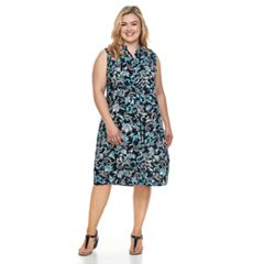Plus Size Croft & Barrow® Print Shirt Dress