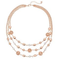 Simulated Pearl & Textured Bead Multi Strand Necklace