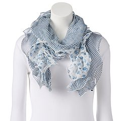 Women's Chaps Floral Double Ruffle Oblong Scarf