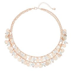 Composite-Shell Disc Double Strand Necklace