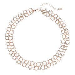 Interlocking Circle Link Double Strand Necklace