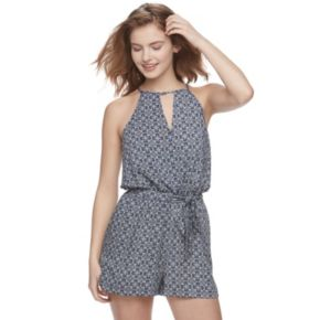 Juniors' Joe B Choker Neck Halter Romper