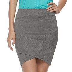 Juniors' Joe B Cross Front Ribbed Skirt