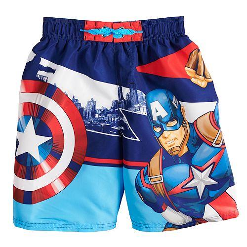 ab486a22b54e7 Boys 4-7 Marvel Captain America Swim Trunks