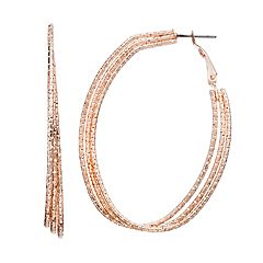 Textured Triple Oval Hoop Earrings