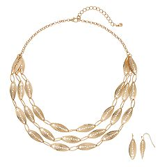 Gold Tone Filigree Necklace & Earrings Set