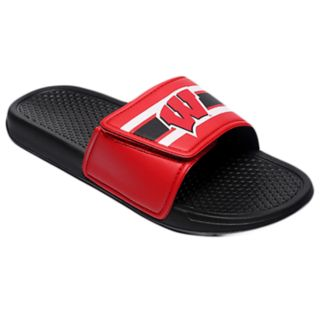 Men's Forever Collectibles Wisconsin Badgers Legacy Slide Sandals