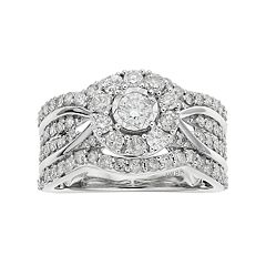 10k White Gold 1 1/2 Carat T.W. Diamond Halo Engagement Ring