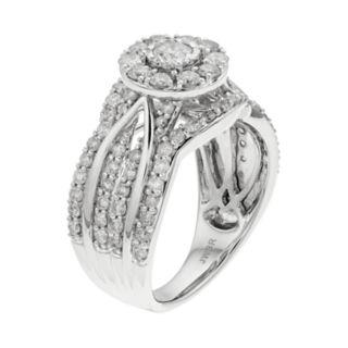 10k White Gold 1 1/2 Carat T.W. Diamond Halo Engagement Ring