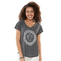 Juniors' Sun & Moon V-Neck Graphic Tee
