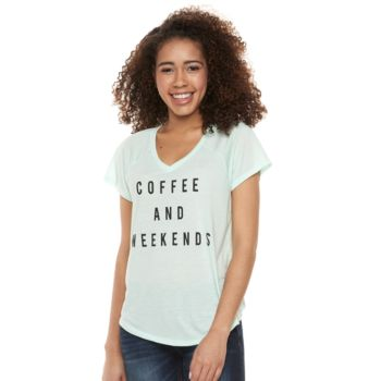 """Juniors' """"Coffee And Weekends"""" V-Neck Graphic Tee"""