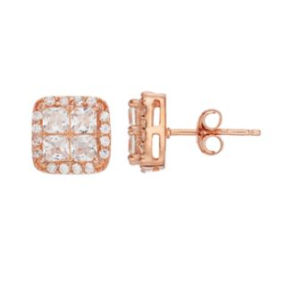 Pure Radiance Lab-Created White Sapphire & Diamond Accent Square Cluster Stud Earrings