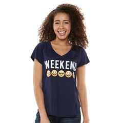 Juniors' 'Weekend' Emojis V-Neck Graphic Tee