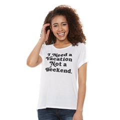 Juniors' 'I Need A Vacation' Short Sleeve Graphic Tee
