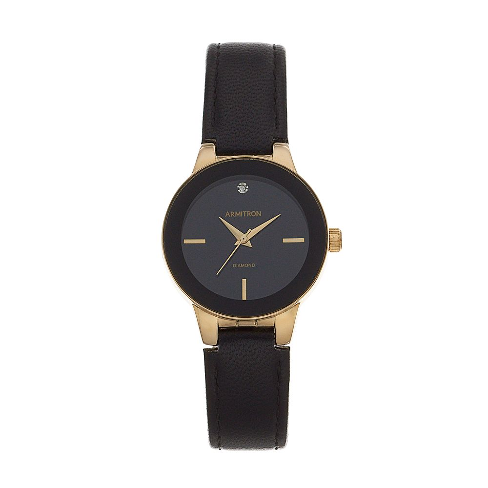 Armitron Women's Diamond Accent Leather Watch - 75/5410BKGPBK