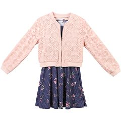 Girls 7-16 Speechless Lace Jacket & Floral Sleeveless Dress Set