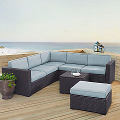 Crosley Furniture Biscayne Patio Wicker Loveseat, Chair, Coffee Table & Ottoman 5-piece Set