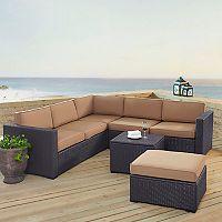 Crosley Furniture Biscayne Patio Wicker Loveseat, Chair, Coffee Table & Ottoman 5 pc Set