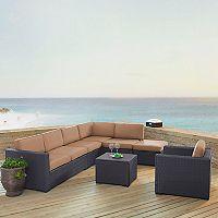 Crosley Furniture Biscayne Patio Wicker Loveseat, Chair, Coffee Table & Ottoman 6 pc Set