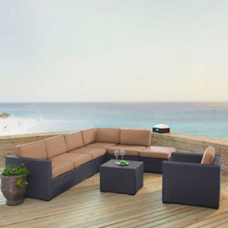 Crosley Furniture Biscayne Patio Wicker Loveseat, Chair, Coffee Table & Ottoman 6-piece Set
