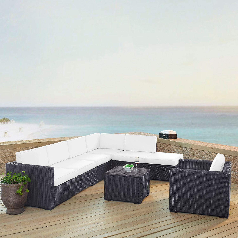 Crosley Furniture Biscayne Patio Wicker Loveseat, Chair, Coffee Table U0026  Ottoman 6 Piece