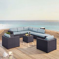 Crosley Furniture Biscayne Patio Wicker Loveseat, Chair, Coffee Table & Ottoman 7 pc Set
