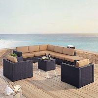 Crosley Furniture Biscayne Patio Wicker Loveseat, Chair, Coffee Table & Ottoman 7 pc Set