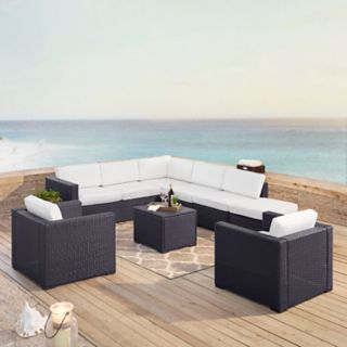 Crosley Furniture Biscayne Patio Wicker Loveseat, Chair, Coffee Table & Ottoman 7-piece Set