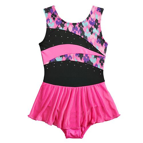 c85584056956 Girls 4-14 Jacques Moret Blotchy Spots Gymnastics Skirtall Leotard