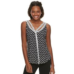 Juniors' Candie's® Cutout Button Front Tank