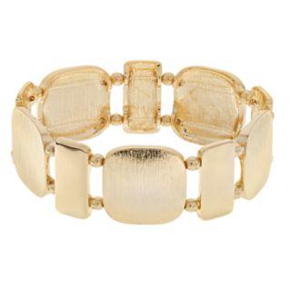 Gold Tone Geometric Stretch Bracelet