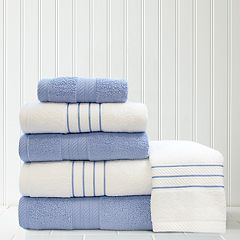 Quick Dry 6-piece Stripe Contrast Bath Towel Set